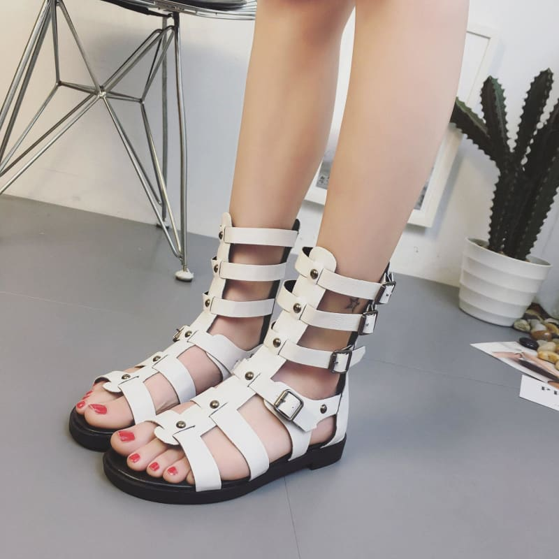 Willow Nail Hollow Belt Buckle Women's Plus Size Sandals - My Web Store Shopping