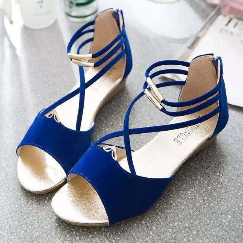 Strap round head low heel sandals - My Web Store Shopping