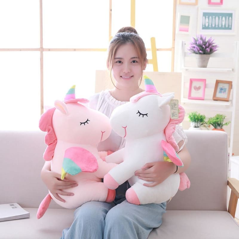 1Pcs 25cm Fat Rainbow Style Unicorn Plush Toy Animal Stuffed Toys Children Toys Soft High Quality - My Web Store Shopping