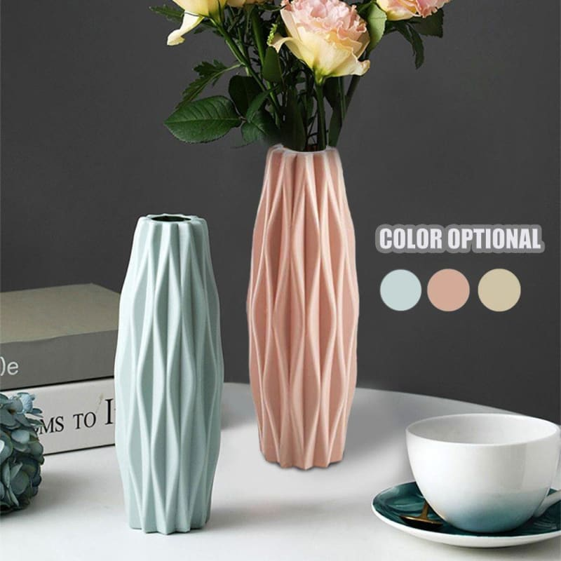 1pc Plastic Shatterproof Flower Plant Pot Vase Study Room Home Wedding Décor Milky White Basket - My Web Store Shopping
