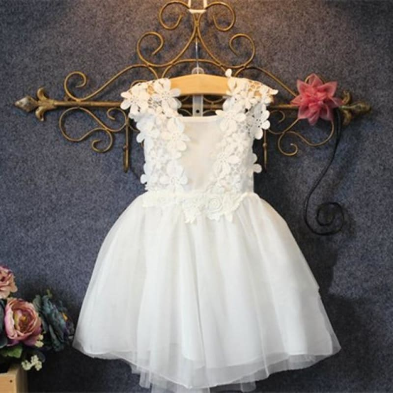 Load image into Gallery viewer, 2-7T/Baby Girl Dress Summer Style Fashion Kid Clothes White Princess Dresses Lace flowers wedding Party Children Clothing BC1165 - My Web Store Shopping