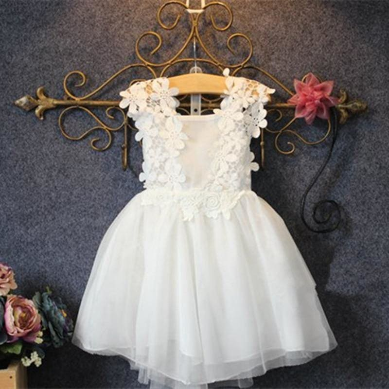 2-7T/Baby Girl Dress Summer Style Fashion Kid Clothes White Princess Dresses Lace flowers wedding Party Children Clothing BC1165 - My Web Store Shopping