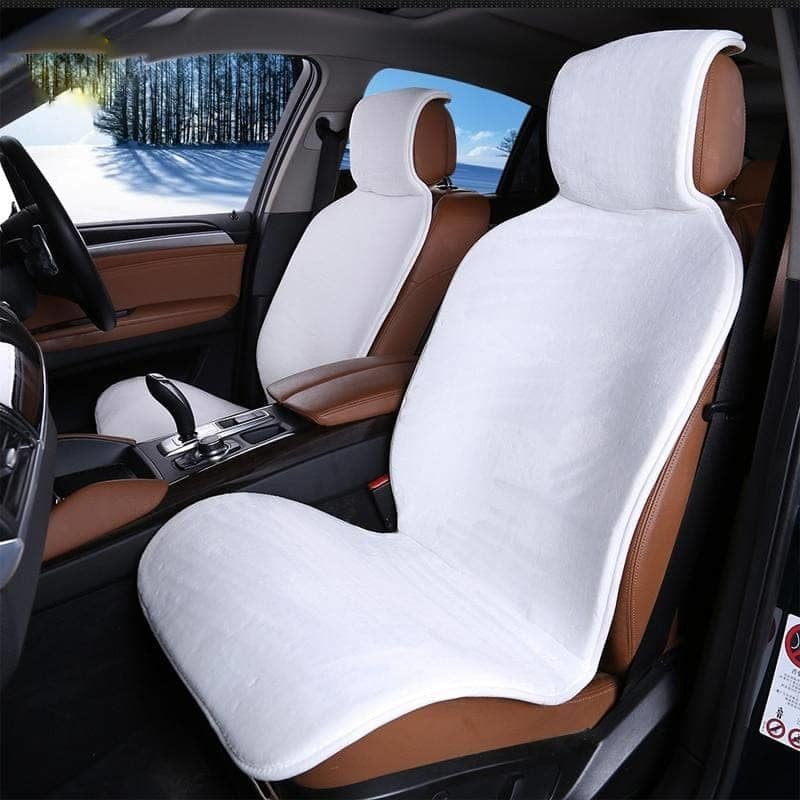 2 pc front cars fur cape car seat covers Accessories Seat Cover white color universal size - My Web Store Shopping