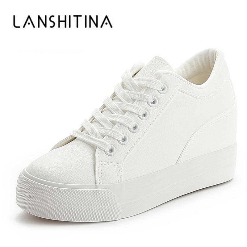Women Breathable Sneakers increased Platform Shoes Casual Footwear Leisure Leather White Shoes - My Web Store Shopping