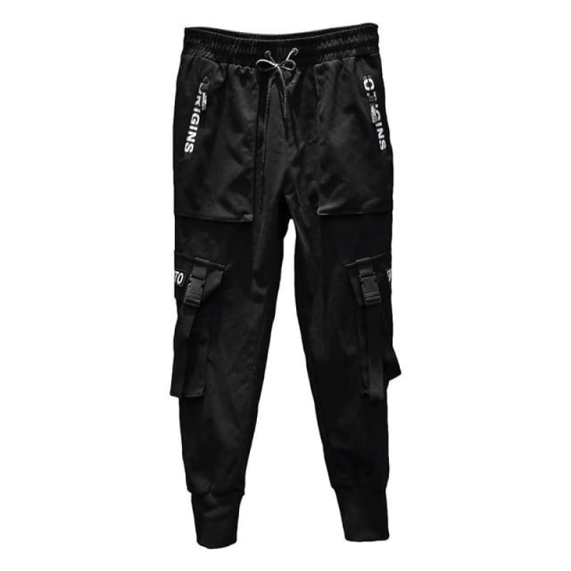 Joggers Men Black Harem Pants Multi-pocket Ribbons Man Sweatpants Street wear Casual Mens Pants - My Web Store Shopping
