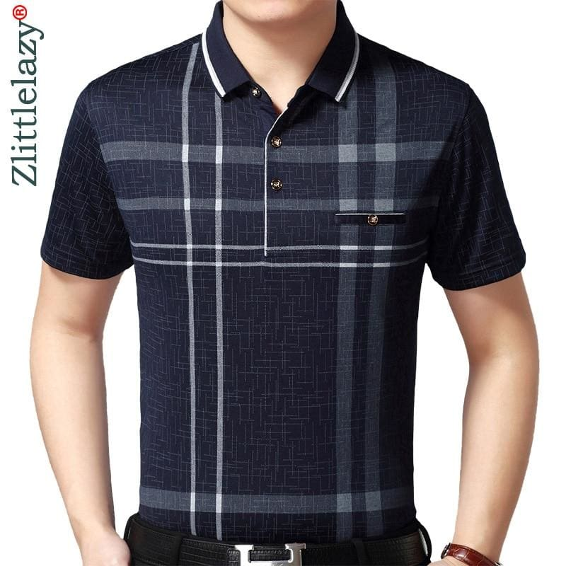 short sleeve polo shirt men plaid polos summer pol tee shirts mens dress polo shirt - My Web Store Shopping