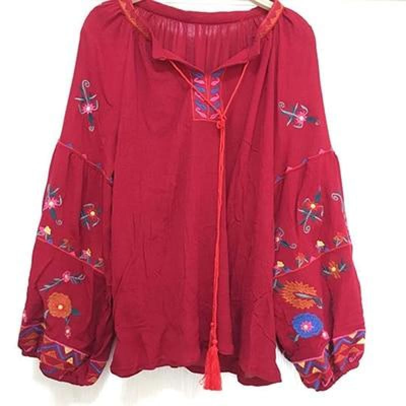 new women embroidery blouse o-neck - My Web Store Shopping