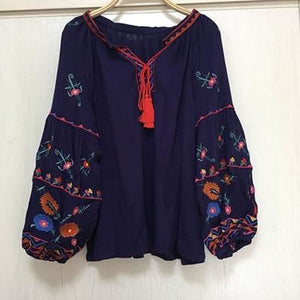 Load image into Gallery viewer, new women embroidery blouse o-neck - My Web Store Shopping