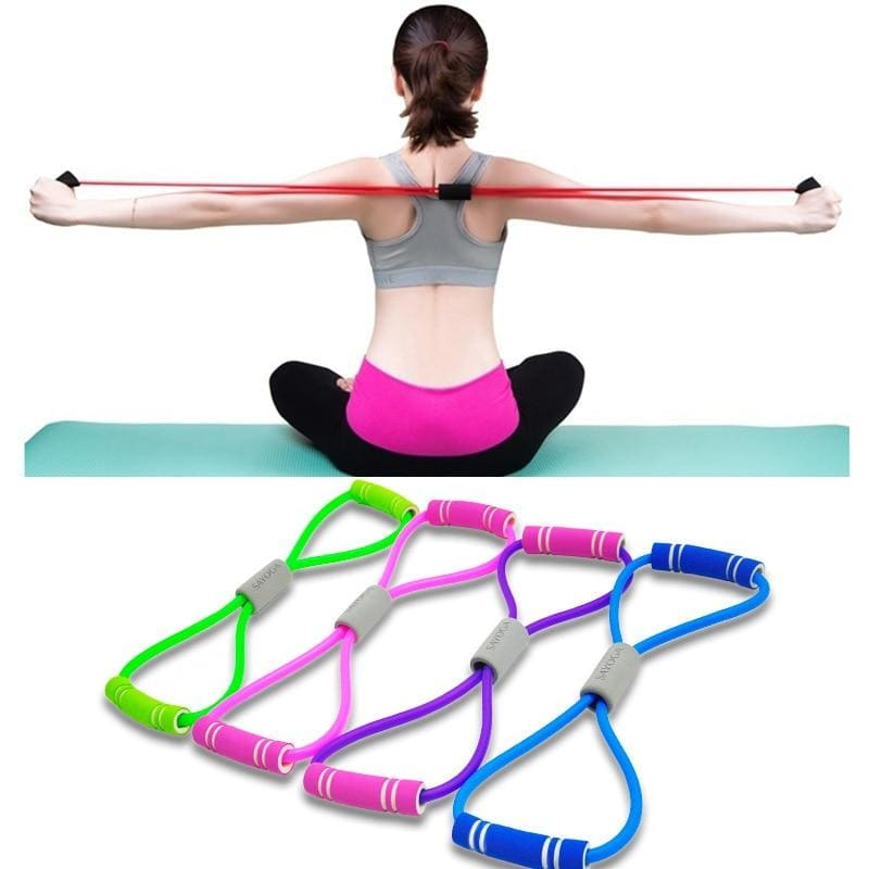 Hot Yoga Gum Fitness Resistance 8 Word Chest Expander Rope Workout Muscle Fitness Rubber Elastic - My Web Store Shopping