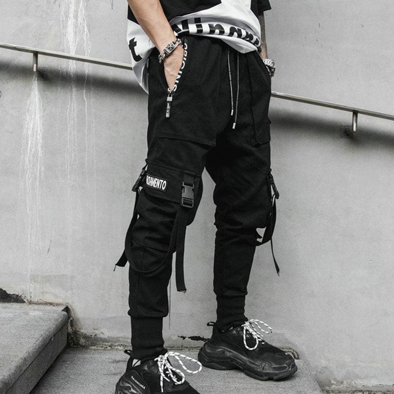 Joggers Men Black Pants Multi-pocket Ribbons Man Sweatpants Streetwear Casual Mens Pants - My Web Store Shopping
