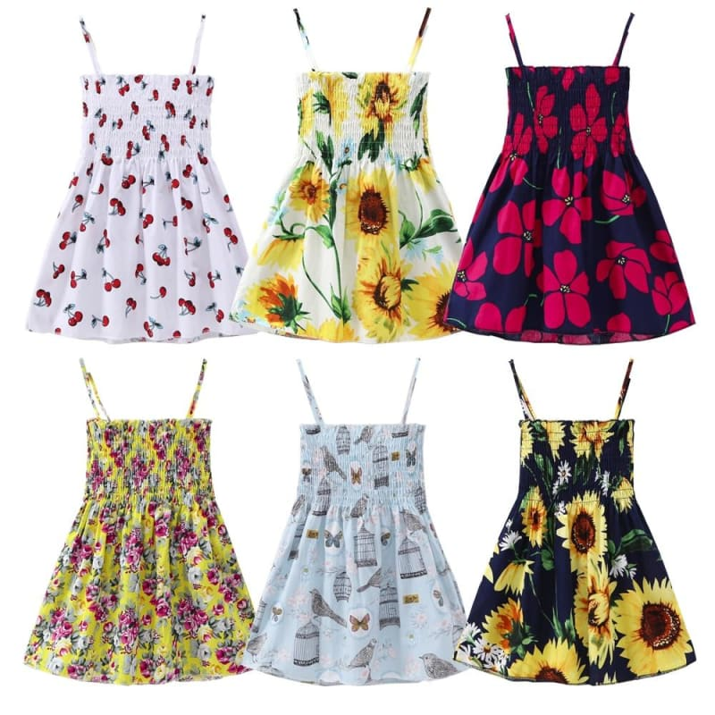 New Baby Clothes Party Dresses Girl Cherry Floral Printed Causal Loose Cute Dress - My Web Store Shopping