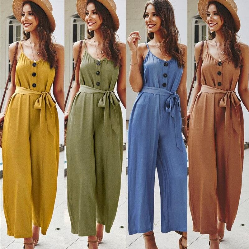 Women Summer Loose Short Sleeve Playsuit Long Pant Bodycon Solid Backless V Neck Party Jumpsuit - My Web Store Shopping