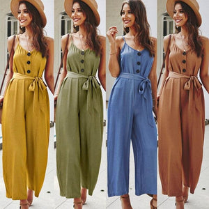 Load image into Gallery viewer, Women Summer Loose Short Sleeve Playsuit Long Pant Bodycon Solid Backless V Neck Party Jumpsuit - My Web Store Shopping