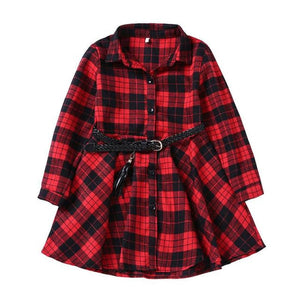 Load image into Gallery viewer, elegant girl casual long-sleeved plaid shirt dress with belt fashion blouse shirt dress 4 5 6 7 8 9 10 11 12 13 years - My Web Store Shopping
