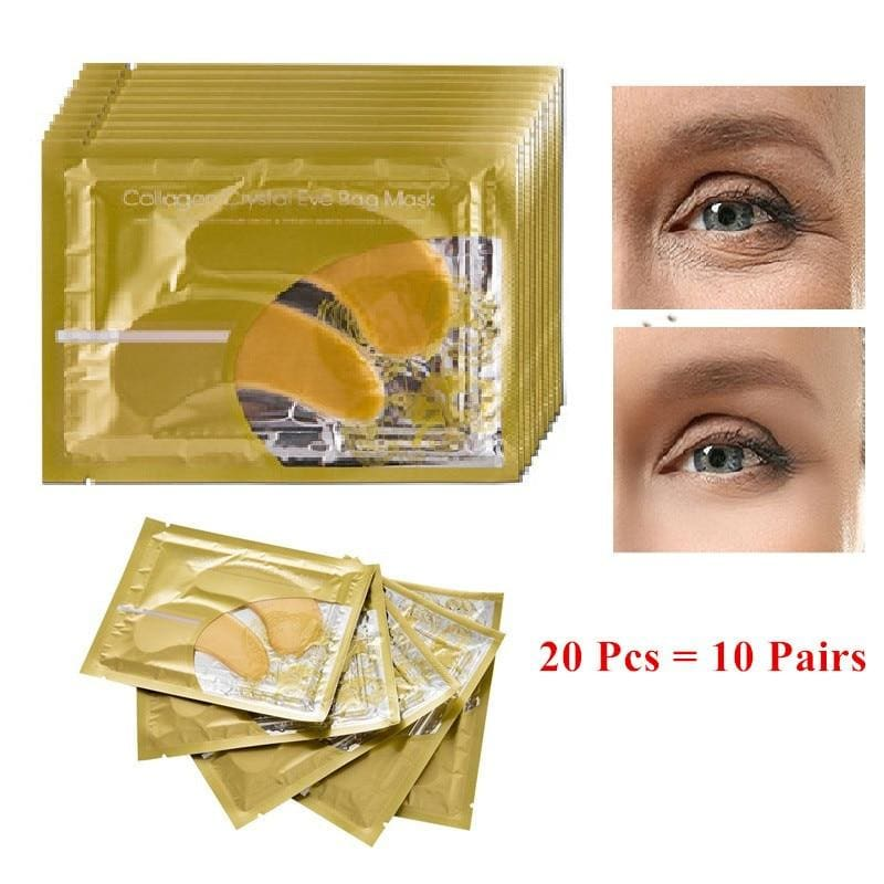 20Pcs=10Pairs Beauty Gold Crystal Collagen Eye Mask Eye Patch For Eyes Mask Acne Korean Collagen - My Web Store Shopping