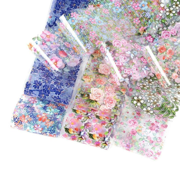20pcs Nail Art Foils Stickers Mix Rose Flower Transfer Nail Foil Decal Sliders Nails Sticker Art - My Web Store Shopping