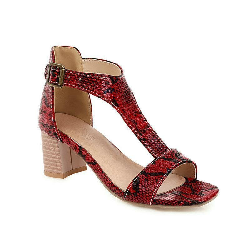 Snakeskin high-heeled chunky sandals - My Web Store Shopping