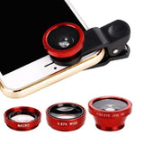 3-in-1 Wide Angle Macro Fisheye Lens Camera Kits Mobile Phone Fish Eye Lenses with Clip 0.67x for - My Web Store Shopping