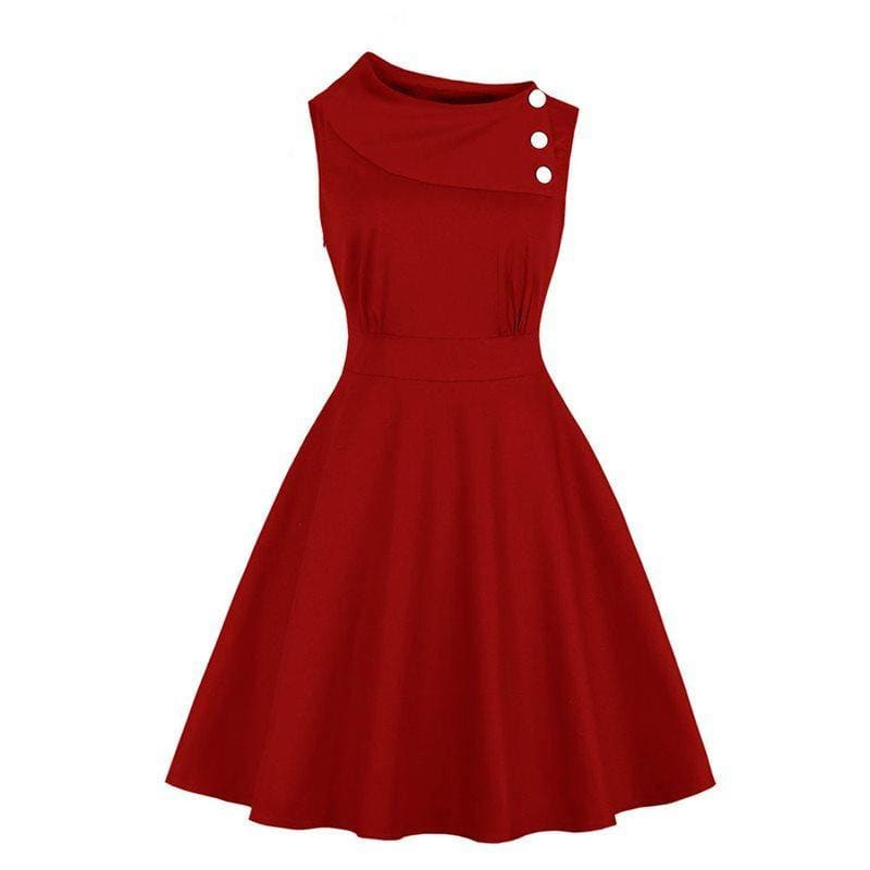 Waist simple sleeveless vintage dress - My Web Store Shopping