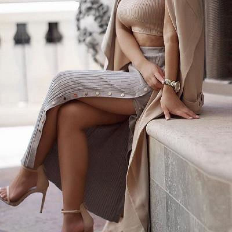 Women's new hot-selling knit button slit skirt - My Web Store Shopping