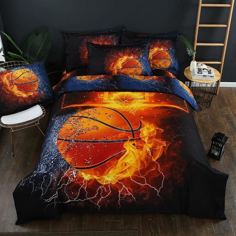 3D Flame Basketball Bedding Set Print Duvet Cover Set Bedclothes Twin Queen King Size Bed Linen Gift To Boy - My Web Store Shopping