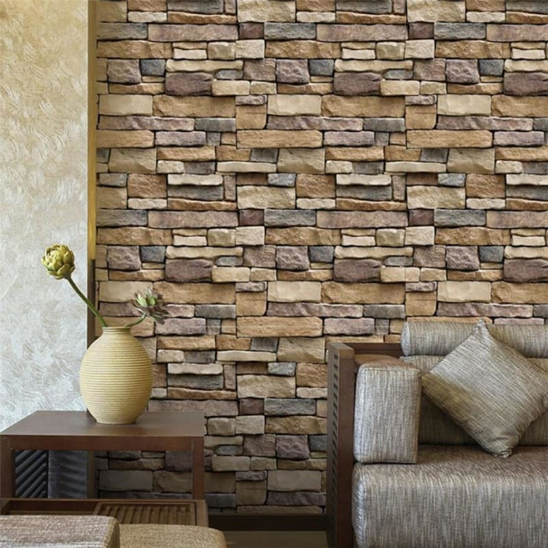 3D Wall Paper Brick Stone Rustic Effect Self-adhesive Wall Sticker Home Decor - My Web Store Shopping
