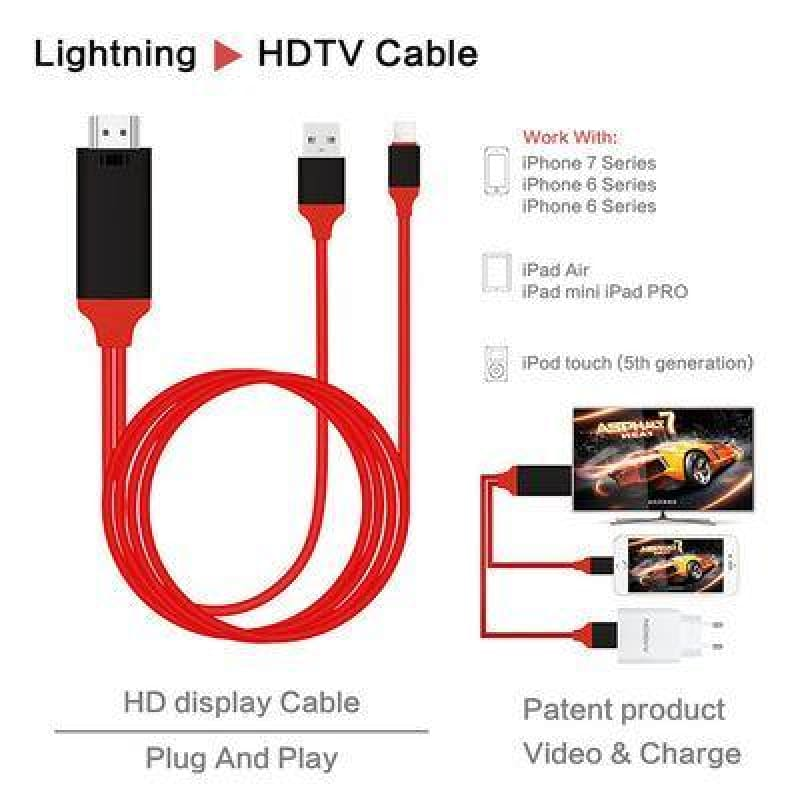High-definition Plug-And-Play  HDMI/TV/Audio Transfer Line For IPhoneX - My Web Store Shopping