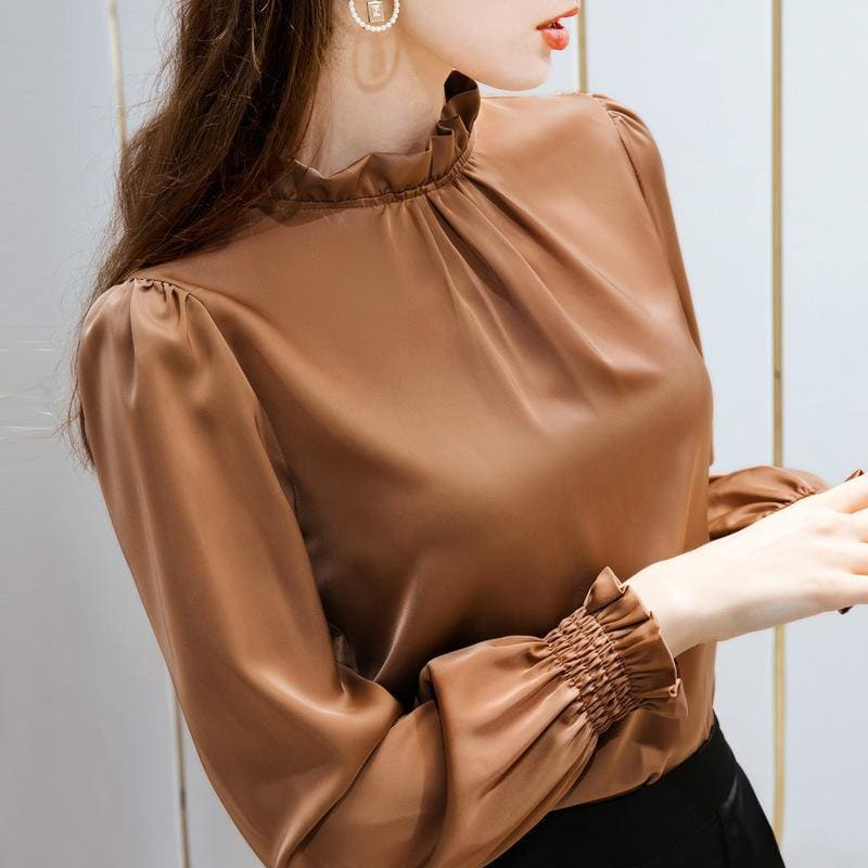 Flared sleeve slip satin ruffle bottoming shirt - My Web Store Shopping