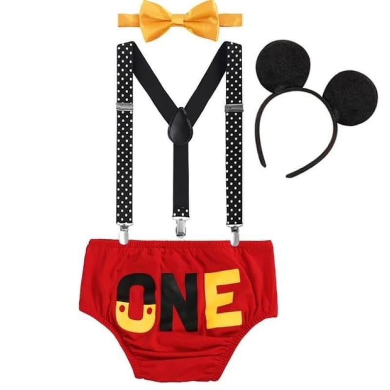4pcs Set Cute Mickey Mouse Clothes for Baby Boy Girl 1st Birthday Cake Smash Outfit Photography - My Web Store Shopping