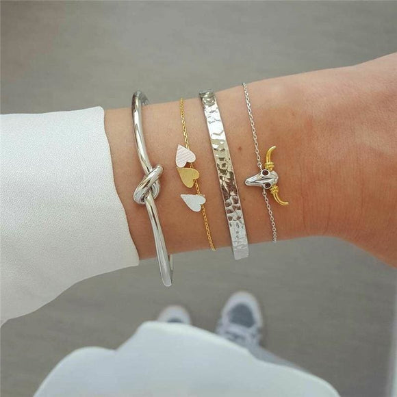 4pcs/set Boho Silver Color Knot Heart Bull Head Multilayer Bracelet Set for Women Girl Geometry Charm Bangles Party Gifts - My Web Store Shopping