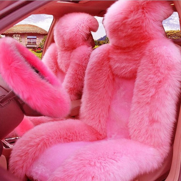 5Pcs Set Car Front Seat Cover & Fur Car Seat Steering Wheel Cover Pink Wool Winter Essential - My Web Store Shopping