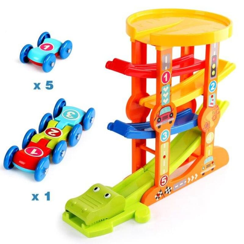 Load image into Gallery viewer, 7-Layer Ramp Magical Race Track & 6 Mini Inertia Car Sliding Toy Vehicel &Train Baby Toddler Motor - My Web Store Shopping