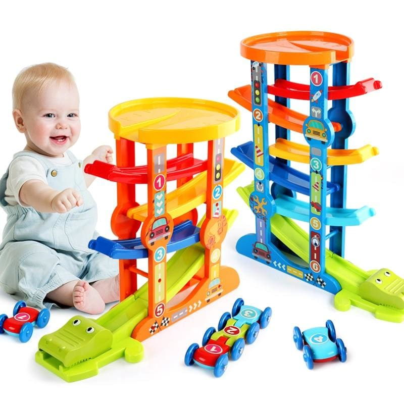 7-Layer Ramp Magical Race Track & 6 Mini Inertia Car Sliding Toy Vehicel &Train Baby Toddler Motor - My Web Store Shopping