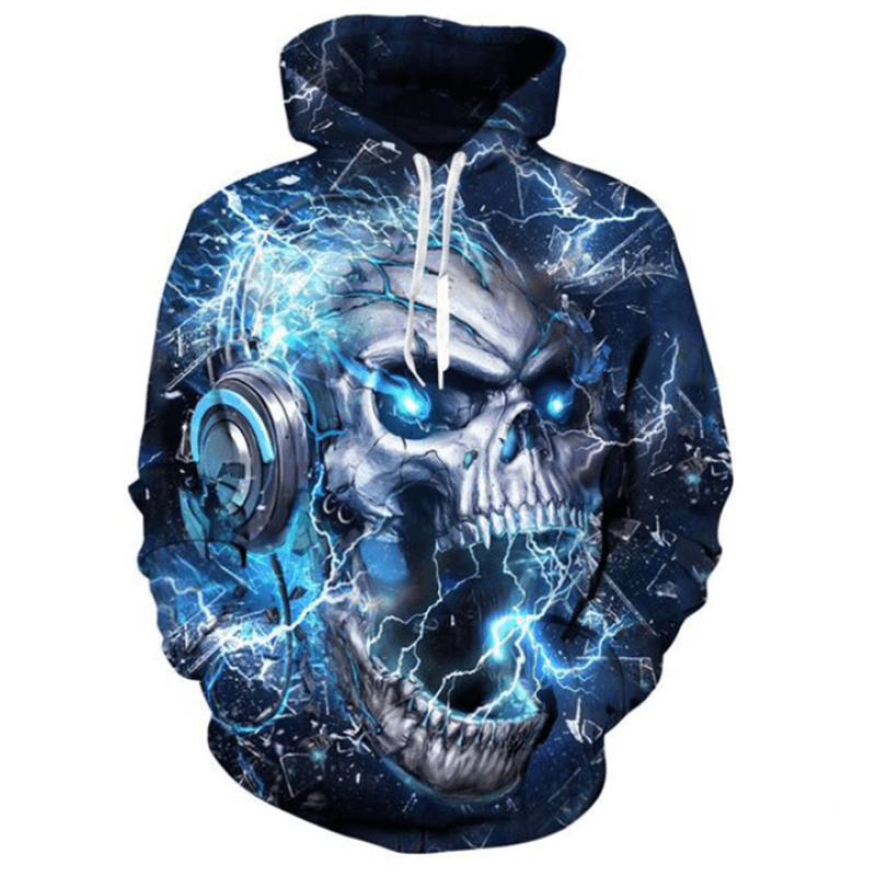 Printed Hoodies, Custom design, Skull Printed Hoodies - My Web Store Shopping