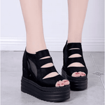 Summer waterproof platform thick bottom fish mouth sandals muffin bottom increased female sandals - My Web Store Shopping