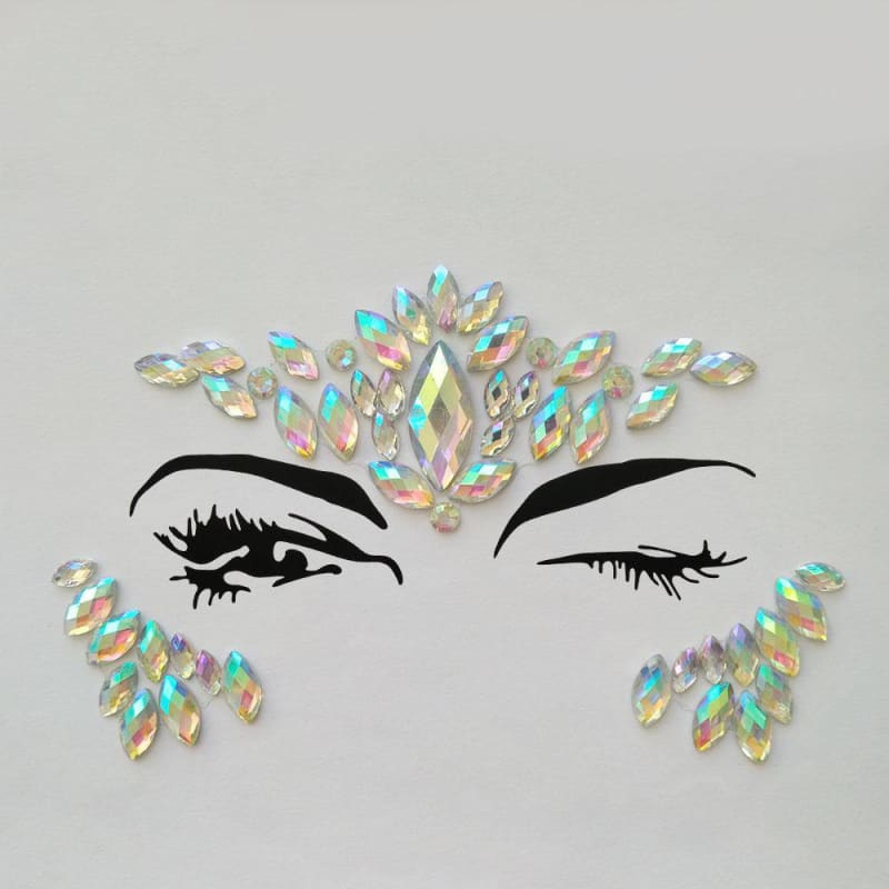 Adhesive Face Gems Rhinestone Temporary Tattoo Jewels Festival Party Body Glitter Stickers Flash Temporary Tattoos Sticke 094 - My Web Store Shopping