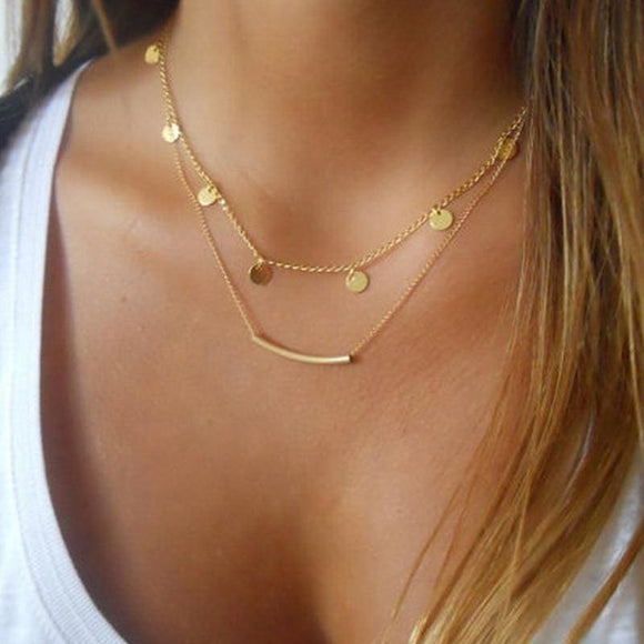 Layered Necklace Gold Chain Pendant Necklace Collier Choker Necklace Women - My Web Store Shopping