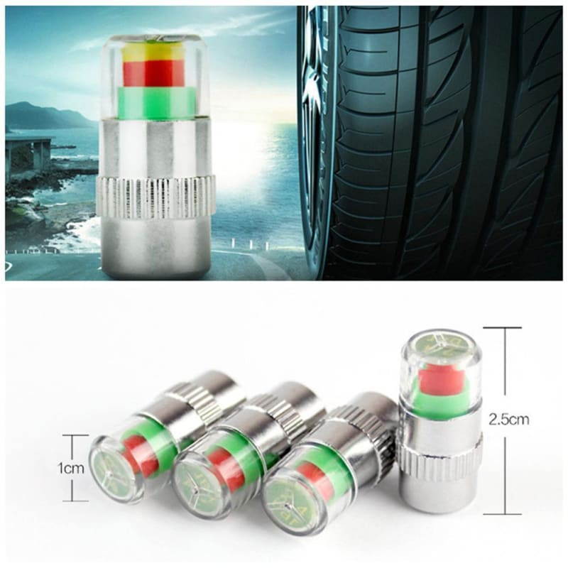 4pcs /set 2.4 Bar Car Tire Pressure Monitoring Valve Cap Sensor Indicator 3Color Eye Alert Tyre Air - My Web Store Shopping