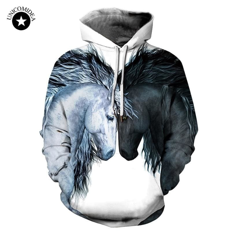 Animal Horse Hoodie Men Sweatshirt Brand Winter Thin Hooded Pullover Men Tracksuits - My Web Store Shopping