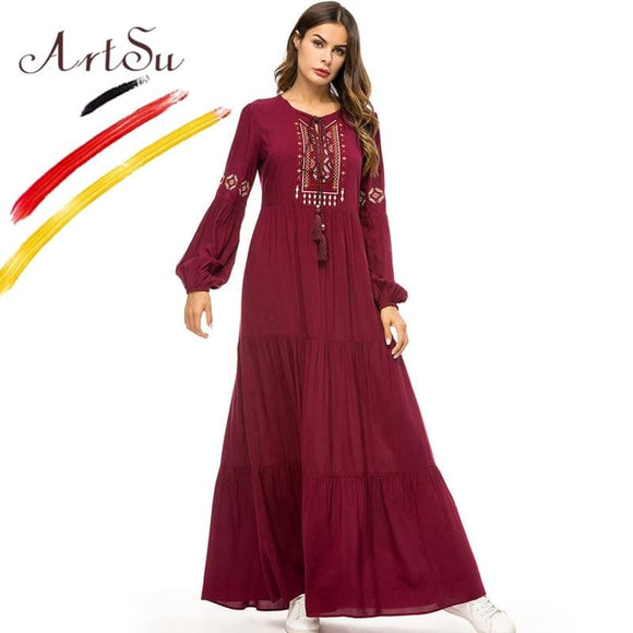Women Long Sleeve Geometric Embroidery Autumn Maxi Dress Plus Size Pleated - My Web Store Shopping
