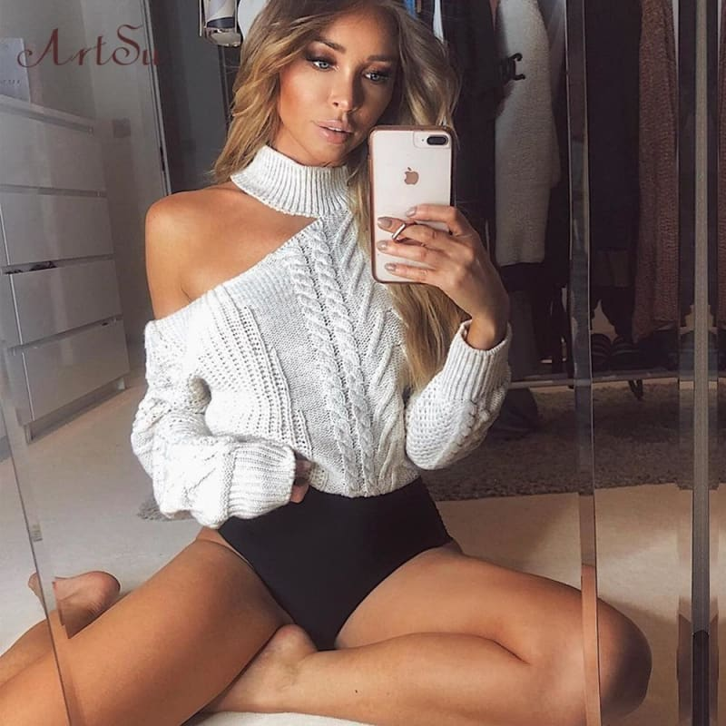 New Casual Solid Loose Sweater Bare Shoulders Knitted Pullovers Winter Oversized Sweaters - My Web Store Shopping