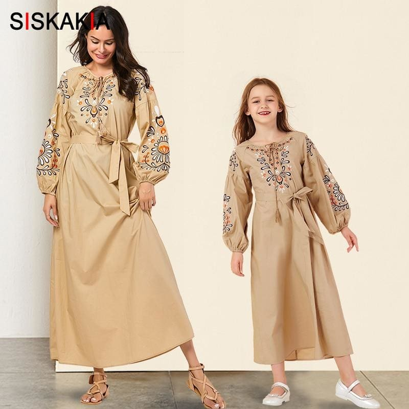 Mother Daughter Long Dress Full sleeve Mommy and Big Girls Dresses Family Matching outfits Chic - My Web Store Shopping