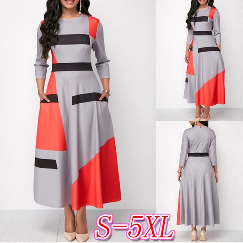 A-Line Dress Women Plus Size Pockets Decoration Striped Patchwork Slim Elegant Party Long Dress - My Web Store Shopping