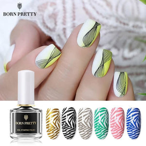 Load image into Gallery viewer, Black White Nail Stamping Polish Lacquer Gold Silver Nail Art Plate Stamp Oil White Night Stamping - My Web Store Shopping