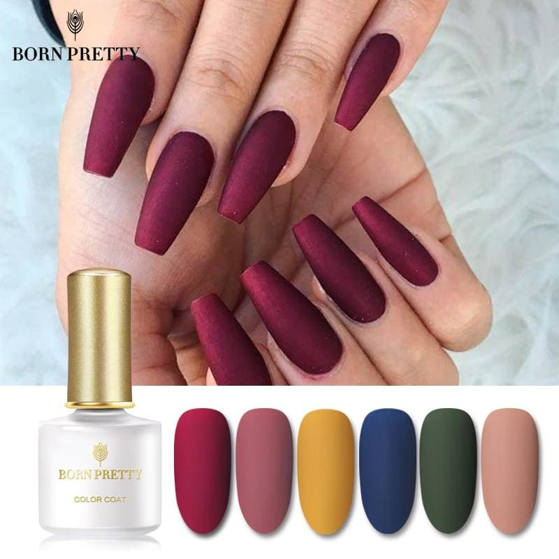 Load image into Gallery viewer, Matte Color UV Gel Nail Polish 6ml Black Pure Soak Off Nail Art UV Gel Varnish Top Base Coat Lacquer - My Web Store Shopping