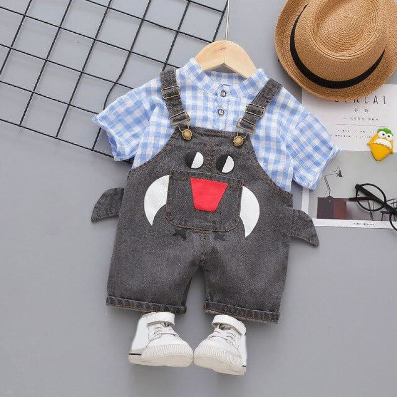 Load image into Gallery viewer, Baby Boy Clothing Sets Infants Newborn Girl Clothes Shorts Sleeve Plaid Tops+Denim Overalls 2PCS Outfits Summer Kids Clothing - My Web Store Shopping