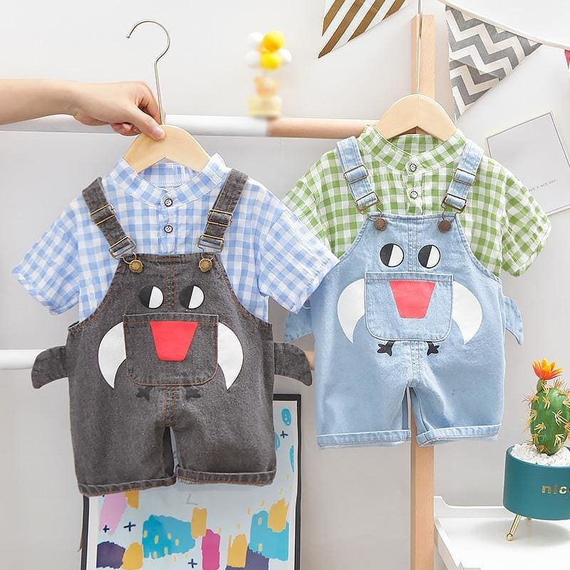Baby Boy Clothing Sets Infants Newborn Girl Clothes Shorts Sleeve Plaid Tops+Denim Overalls 2PCS Outfits Summer Kids Clothing - My Web Store Shopping