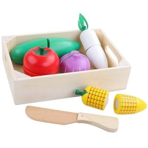 Baby Early Education Wooden Kitchen Toys Cutting Fruit Vegetables Education Food Toys For Kids - My Web Store Shopping