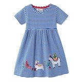 Baby Girl Dress with Animal Applique Vestidos Striped Cotton Kids Unicorn Party Dresses for Girls - My Web Store Shopping