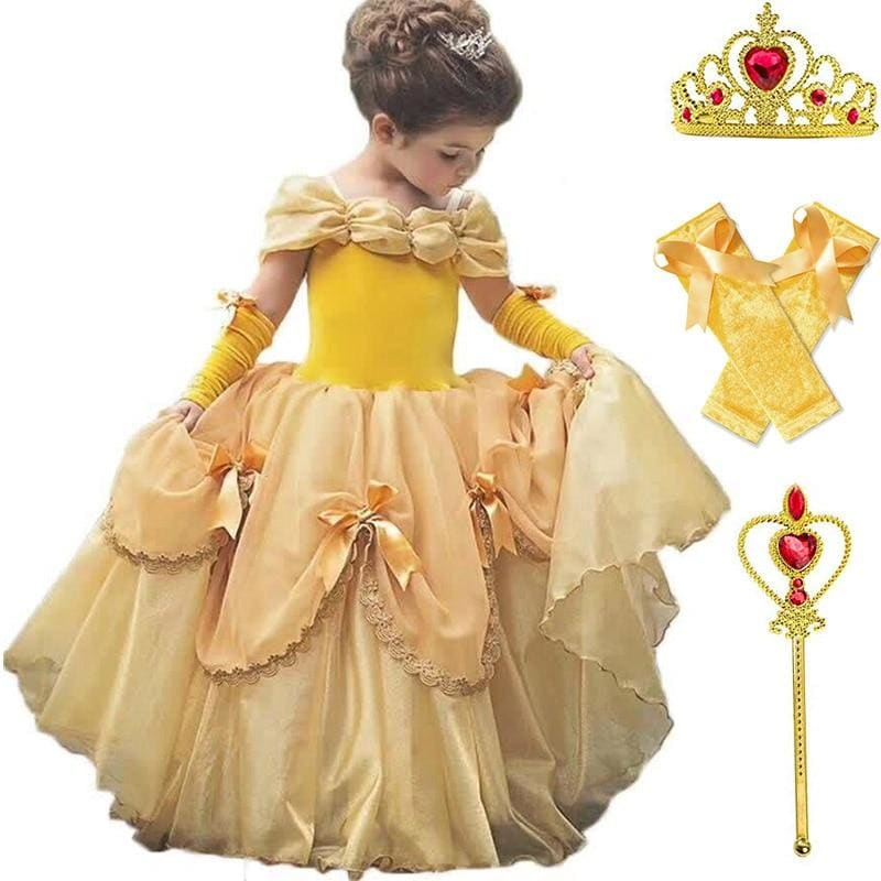 Baby Girls Beauty and the Beast Costume Tulle Kids Princess Belle Party Gown Halloween Birthday - My Web Store Shopping